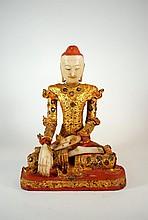 Antique 18th Century Burmese 16 Inch Buddha Statue