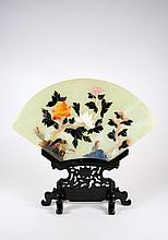Vintage Pair Serpentine Fan Plaques w/ Jade, Carnelian, Agate, Lapis