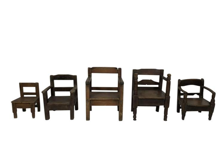 sc 1 st  Invaluable & Grouping Miniature Chairs Spanish Colonial