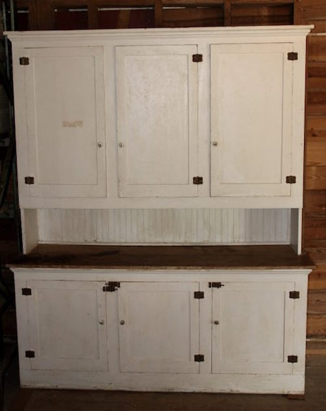 334. 3 Over 3 Primitive Pine Cupboard