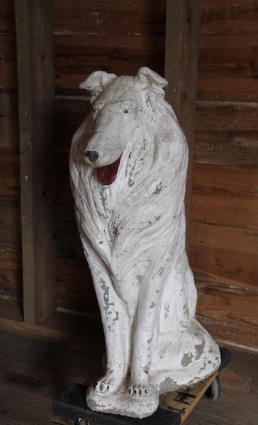 323. White Stone Cast Collie Dog Statue