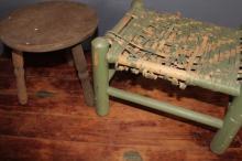 310. Two Vintage Wood Stools