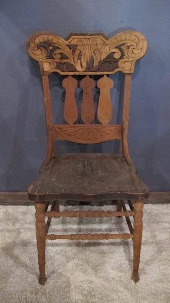 238. Unusual Oak Pressed Back Side Chair