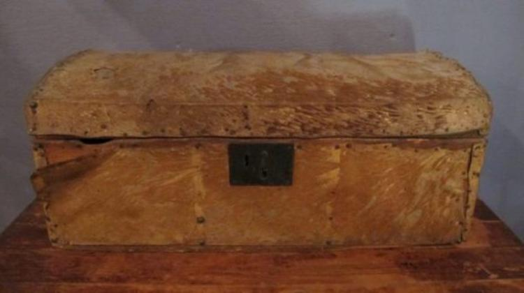 222. 19C Hide Covered Stage Coach Trunk
