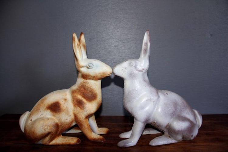 208. Heavy Cast Iron Garden Rabbits