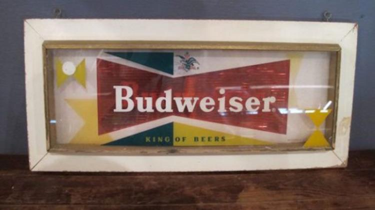 198. Rare 1950s Budweiser Beer Bow Tie Sign