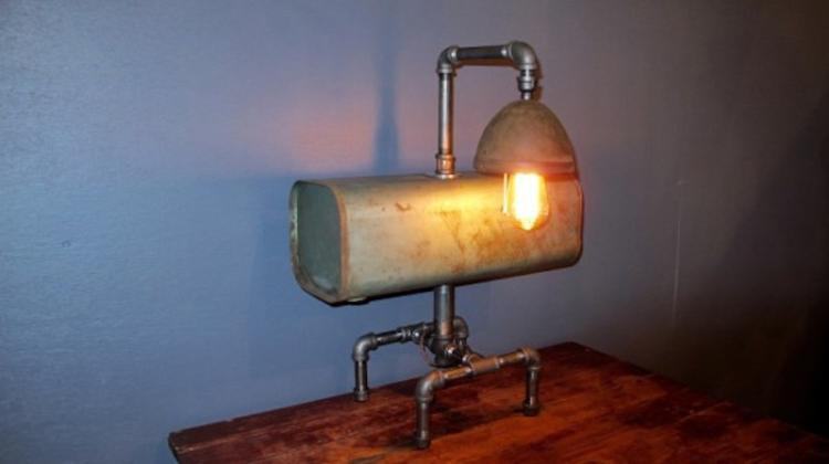 192. Steampunk Gas Tank Table Lamp