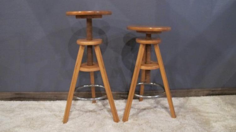 79. Oak Mid-Century Telescopic Stools