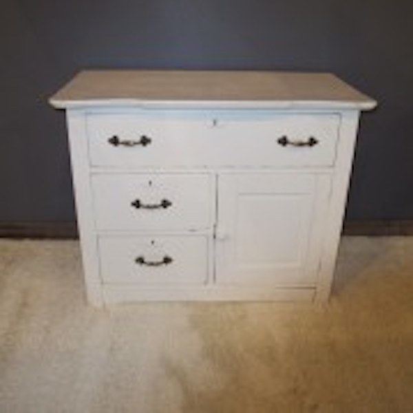 1. Early White Painted Cabinet