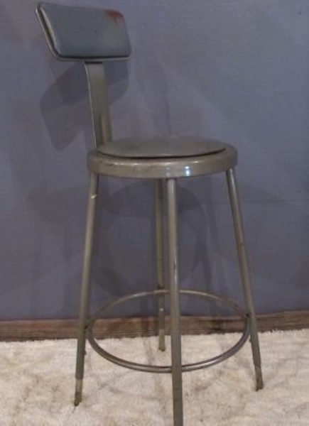 18. Machine  Factory Age Stool in Gun Metal Gray