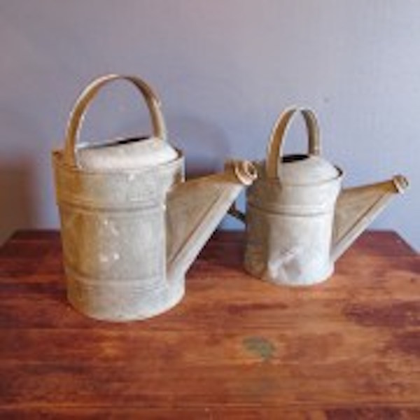 25. Two Galvanized Tin Watering Cans