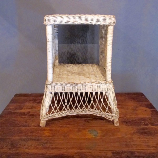 47. Vintage Wicker Side Table