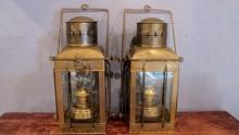51. Pr. Brass Neptune Nautical Lanterns