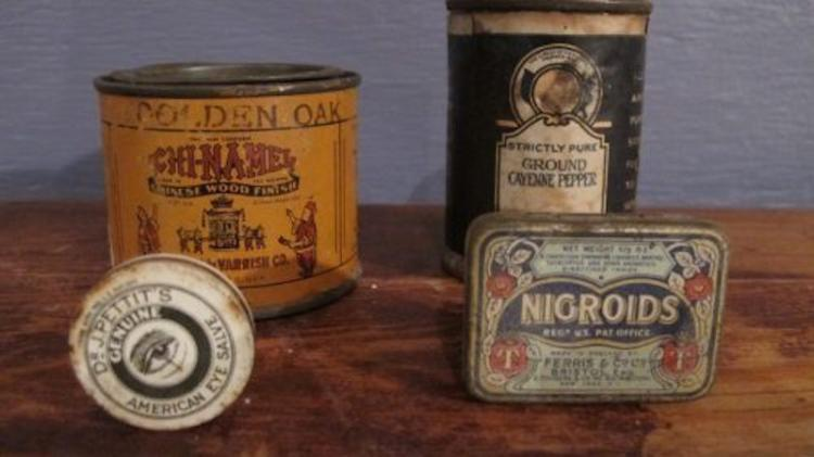 154. Four VintageAntique Advertising Tins