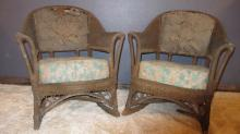 158. Pair of Antique Wicker Rocking Chairs