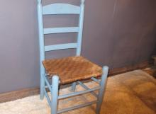163. Early Blue Painted Ladderback Chair