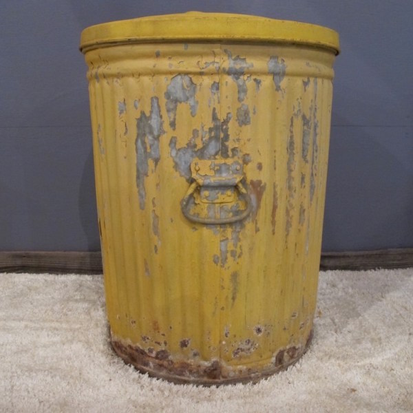 13. Vintage Sunflower Yellow Trash Can