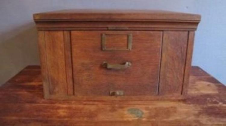 102. Oak Library Card File Cabinet