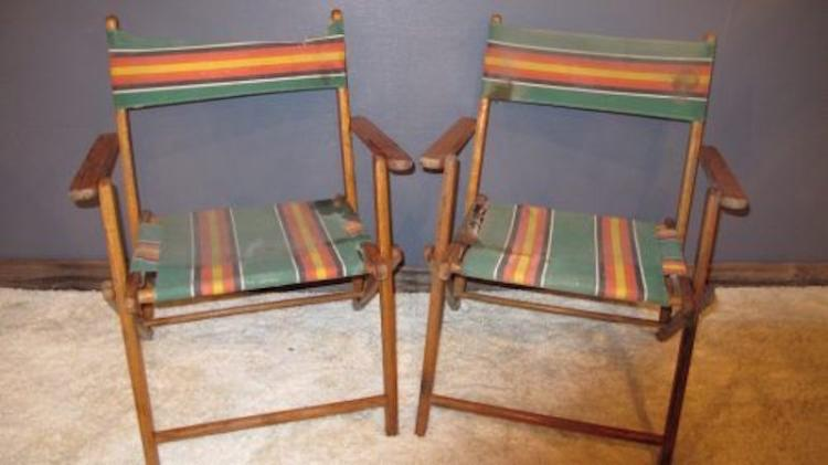 128.  Pair of 1940's/50's Beach Chairs