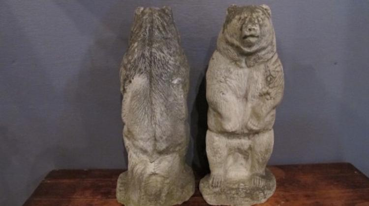 131. Pair of 20c. Stone Cast Bear Statues