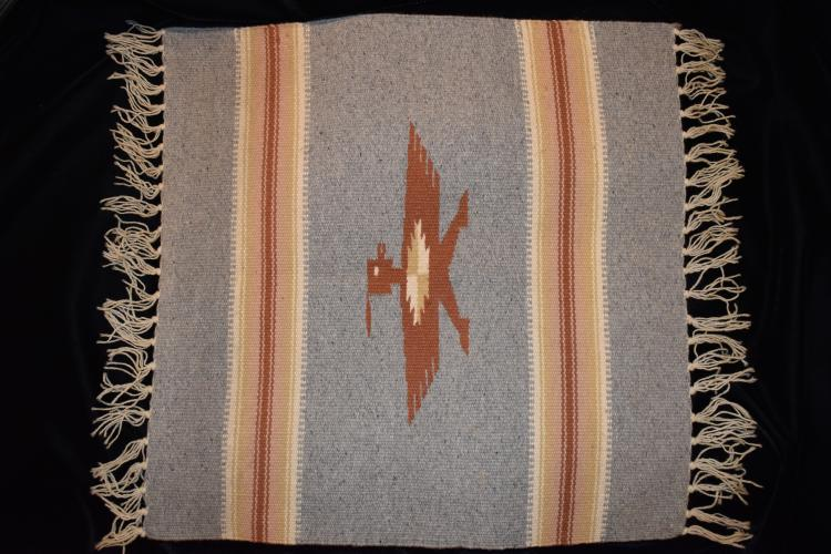 """19.1/2"""" sq Wool Miniature Indian Blanket, Likely Mid-Early 1900's"""