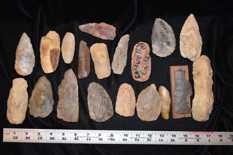 "13x16"" Flat of Arrowheads, Lyman Hussey Collection"