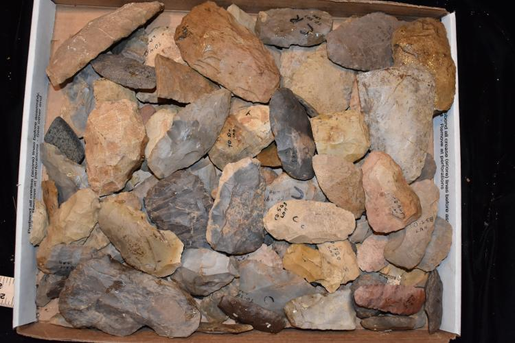 "13x16"" Flat of stone tools, Lyman Hussey Collection"