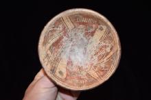 "4.3/8"" dia 1.3/4"" T Pre-Columbian Painted Vessel, Great Colors, Base"