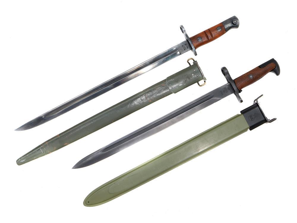A LOT OF TWO U.S. BAYONETS SWORDS, WW1 & WW2