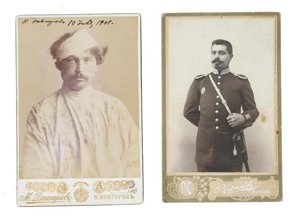 TWO RUSSIAN MILITARY PHOTOGRAPHS W. SHASHKA SWORD