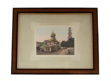 COLORED LITHOGRAPH OF TROITSKO SERGIV CATHEDRAL, 19TH ?.