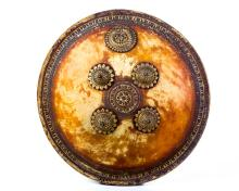INDIAN HAND PAINTED DHAL SHIELD, 19TH C.