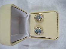 Ladies Blue Topaz Earrings