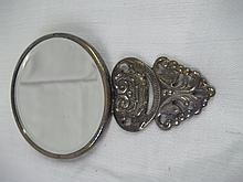 Antique Silver Plated Pocket Mirror