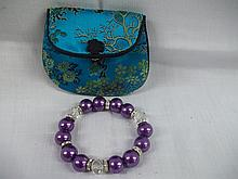 Silk Style Chinese Bag with Beaded braclet