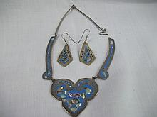 Alpacca Mexico Vintage 2 pcs set necklace & ER