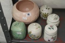 20th cent. Ceramics: Radford 2 x hand decorated floral preserve pots, Short