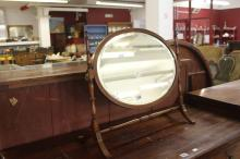 Early 20th cent. Skeleton bevel edge mirror with fruitwood stringing on ban