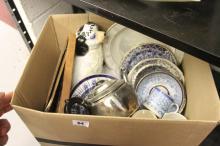 19th/20th cent. Ceramics: Gilt rimmed blue & white tea cup & bowl, A.C.H.J.