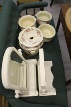 Ceramics: Three chamber pots, 1 slop pot with cover and rattan handle decor