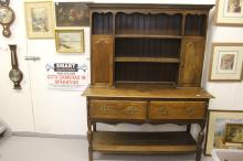 Early 20th cent. Oak dresser & rack in an 18th century style, with split ba