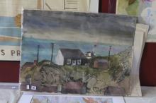 Ellis Family Archive: Rosemary Ellis 1910-1998, oil on paper of a house by