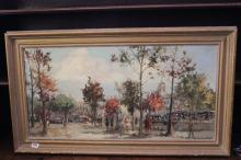 Continental school: Voorscher, oil on canvas 'Parisian Street Scene' signed