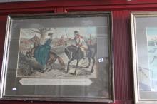 John Leech, coloured engraving x 3 , hunting studies