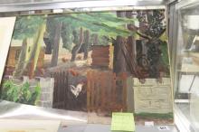 Ellis Family Archive: Rosemary Ellis 1910-1998, oil on board of a farmyard,