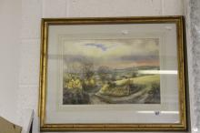 20th cent. Clive Pryke watercolour Golden Glints rural study. Framed and gl