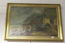 J Maggs, oil on canvas, coastal study with Fishermen's cottages, figures an