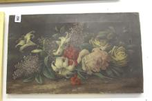 Edwin Steele Oil on canvas still life of lily's and other flowers & leaves,
