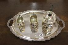 Silver Plate: Walker and Hall silver plated tray, approx. 20ins long with a