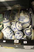 20th cent Ceramics: Spode Italian, Churchill, Wood and Son, TG and FB, Crown etc. All blue and white dinner ware to include